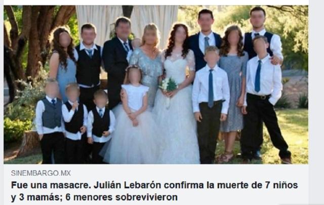 FAMILIA LEBARON ASESINATOS MEXIQUE-RANCHO NOV 2019